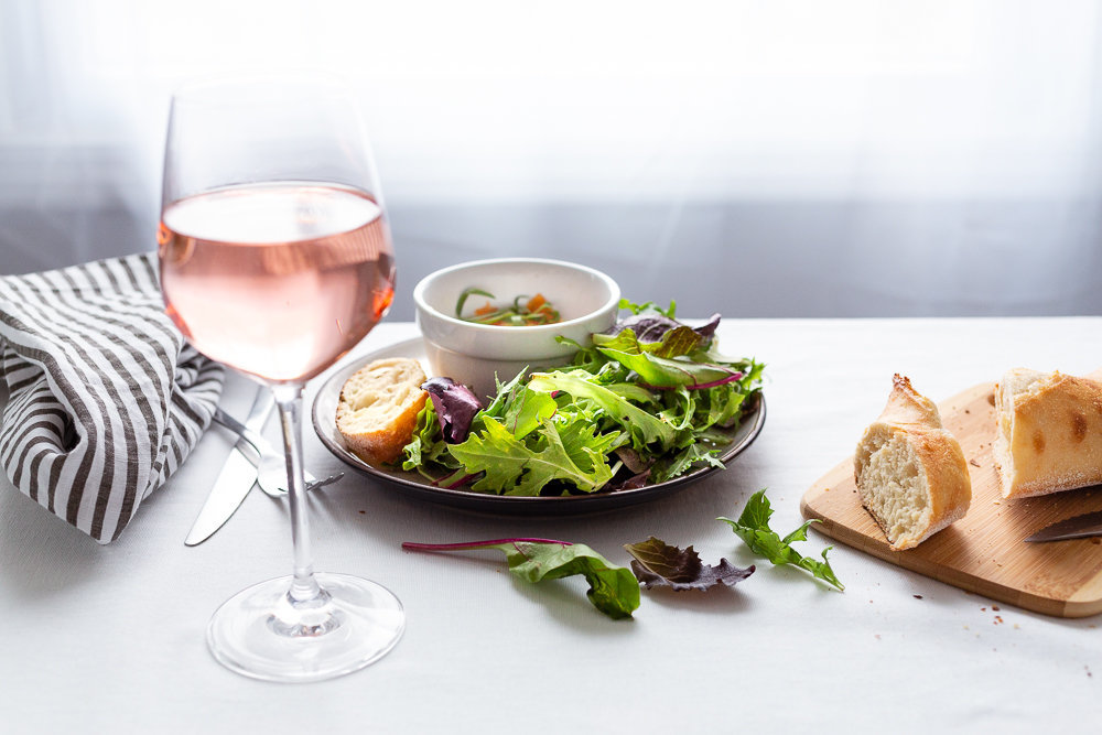 Wine and salad - Food Photography - Frenchly Photography-6800