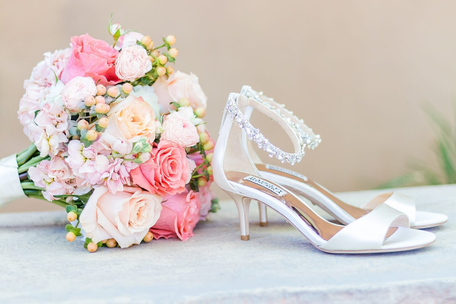 bridal-shoes-and-bouquet