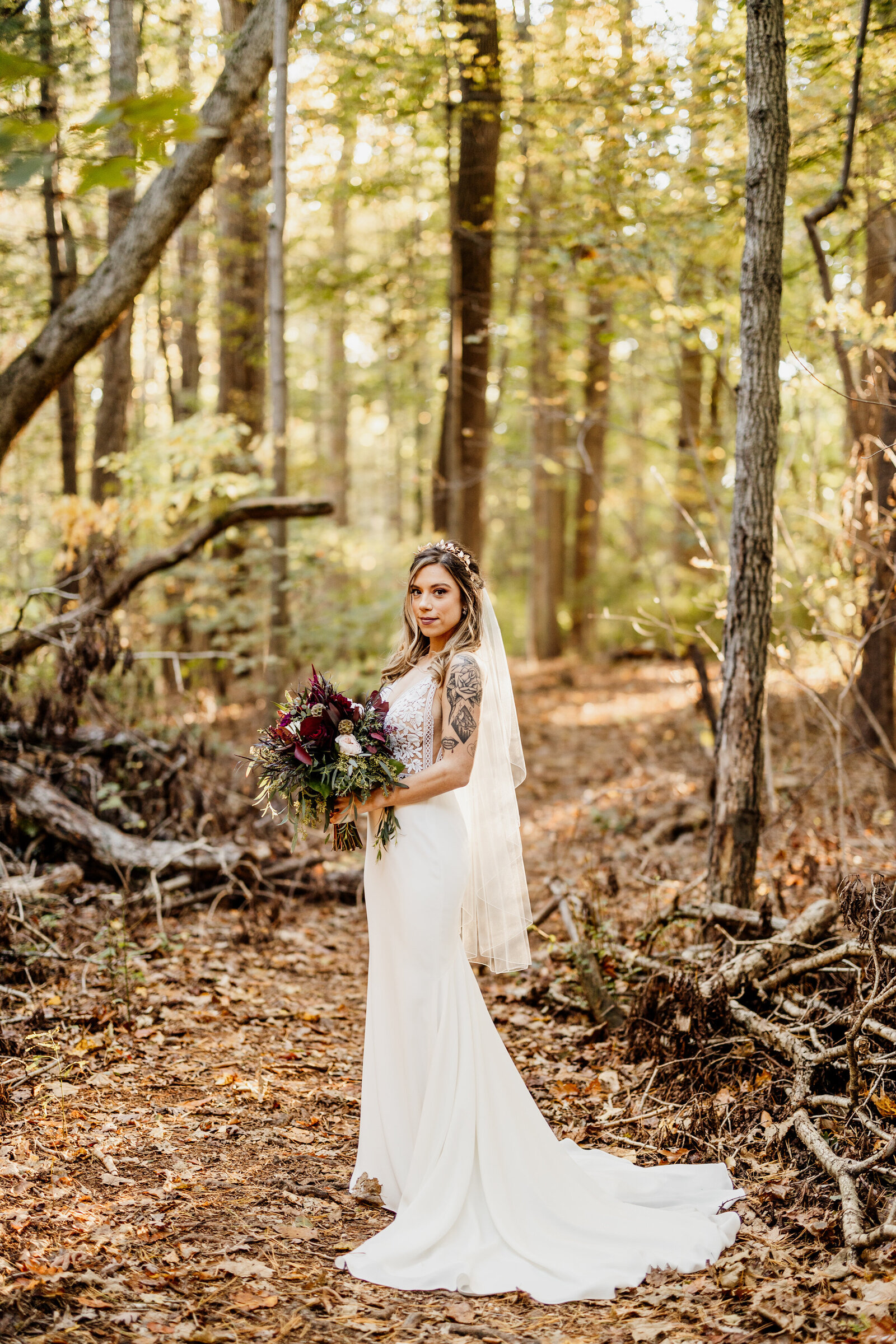 tattoo bride in woods