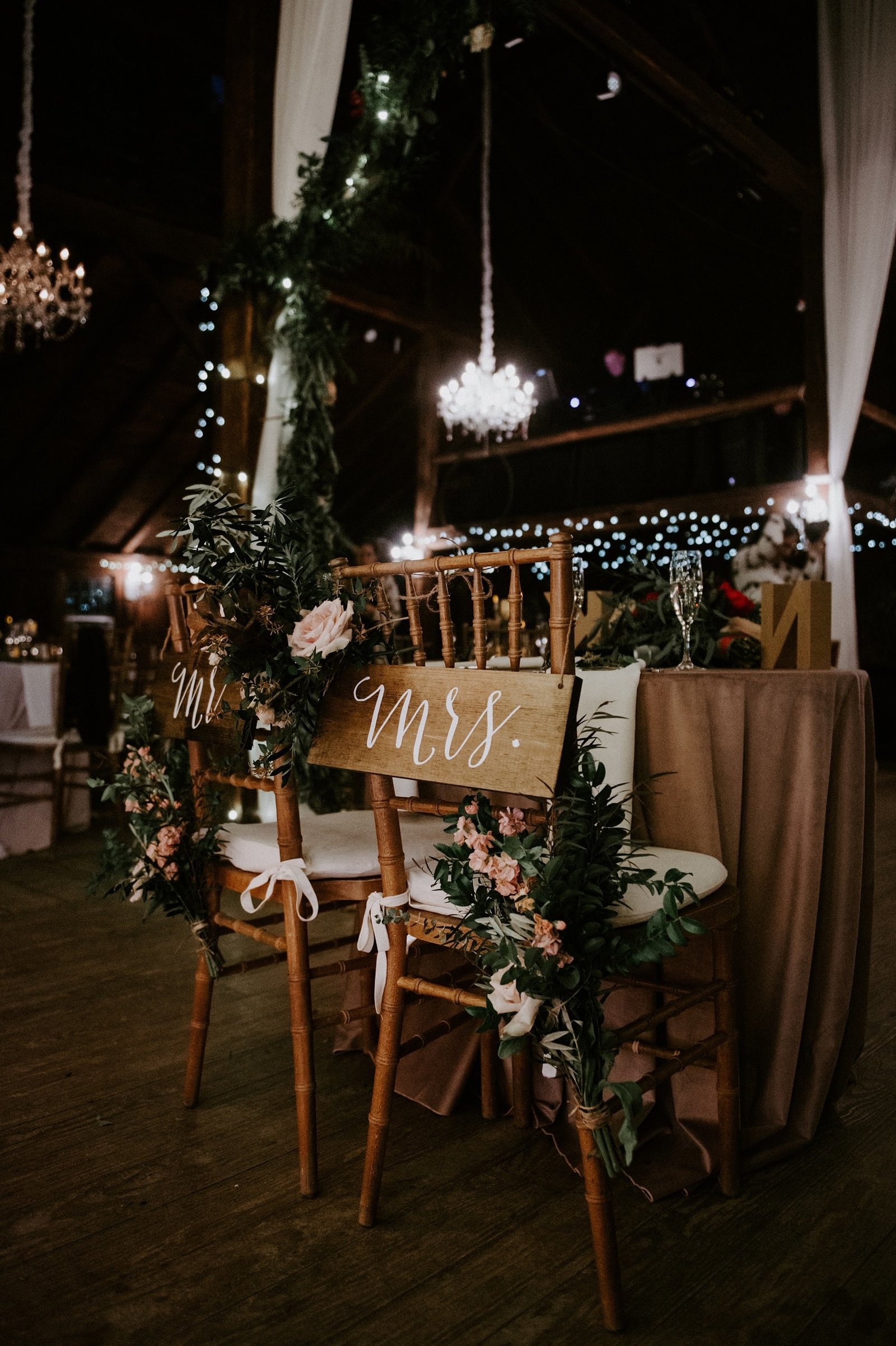 Rustic & romantic wedding at The Webb Barn with draping and chandeliers in Wethersfield, CT
