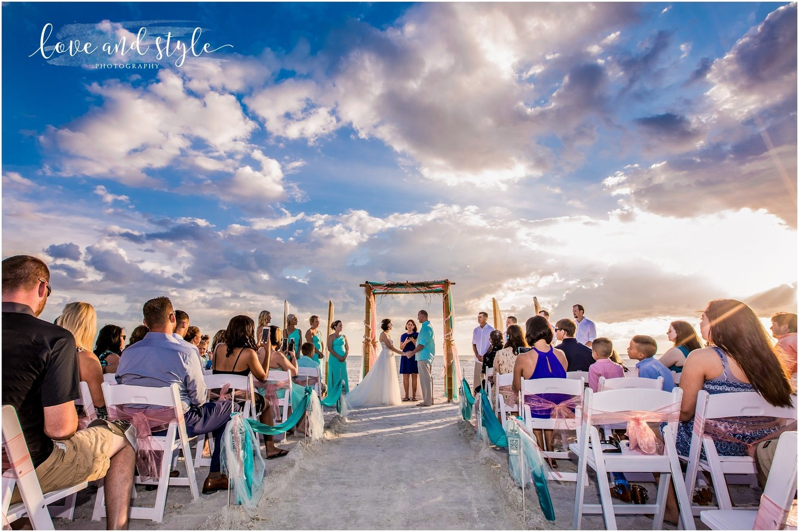 Wedding Ceremony at sunset on Siesta Key Beach