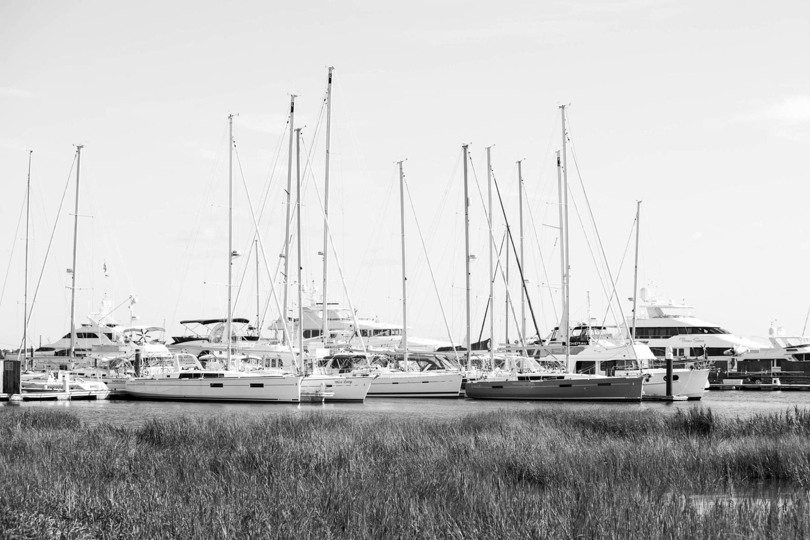 Boats are among the marsh, Rice Mill Building, Charleston, South Carolina