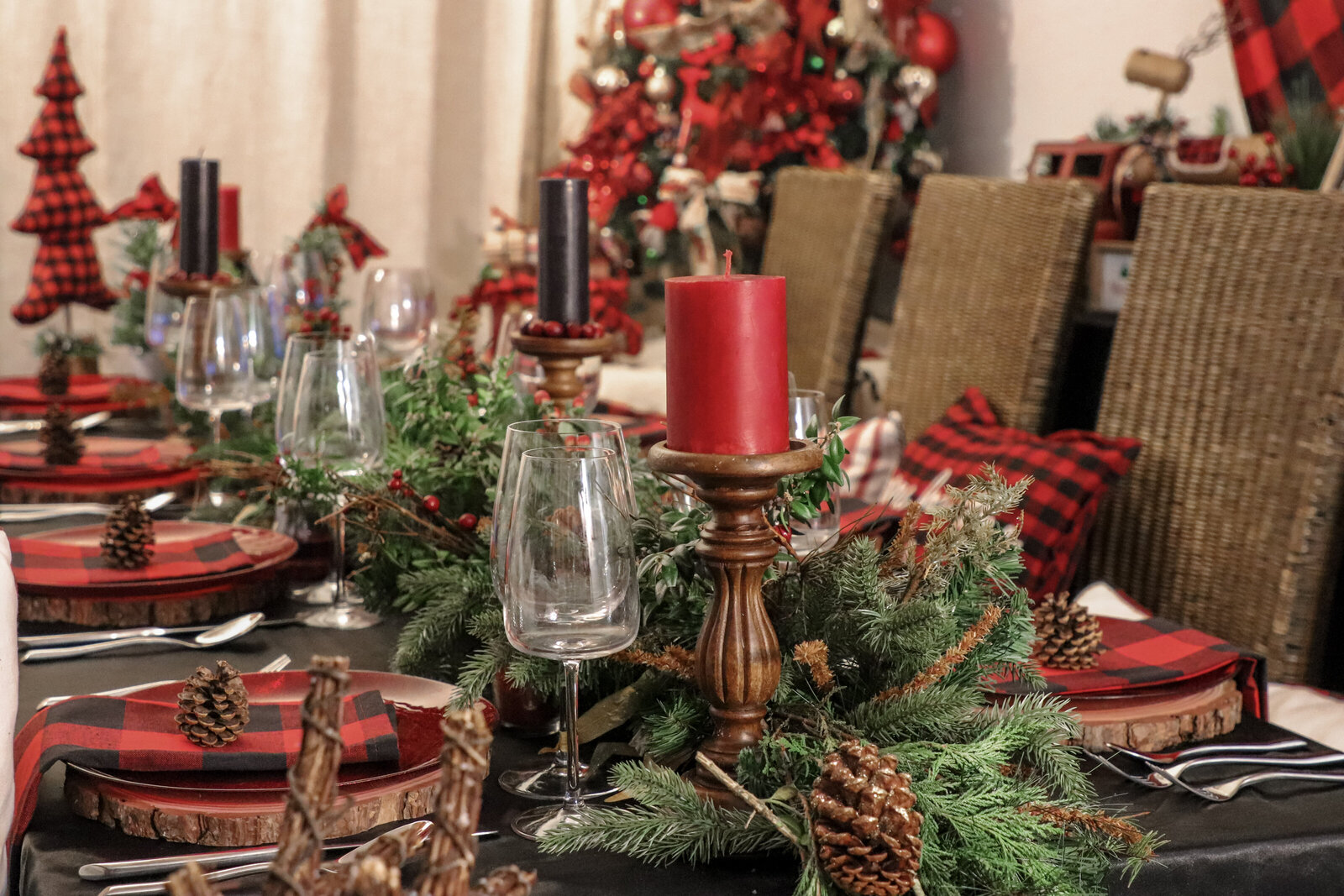 Christmas setting buffalo plaid forest theme event planner nyc