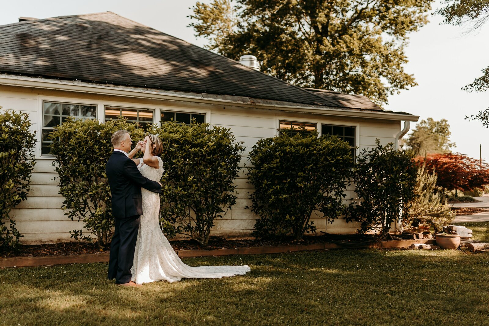 J.Michelle Photography photographs bride and groom first look