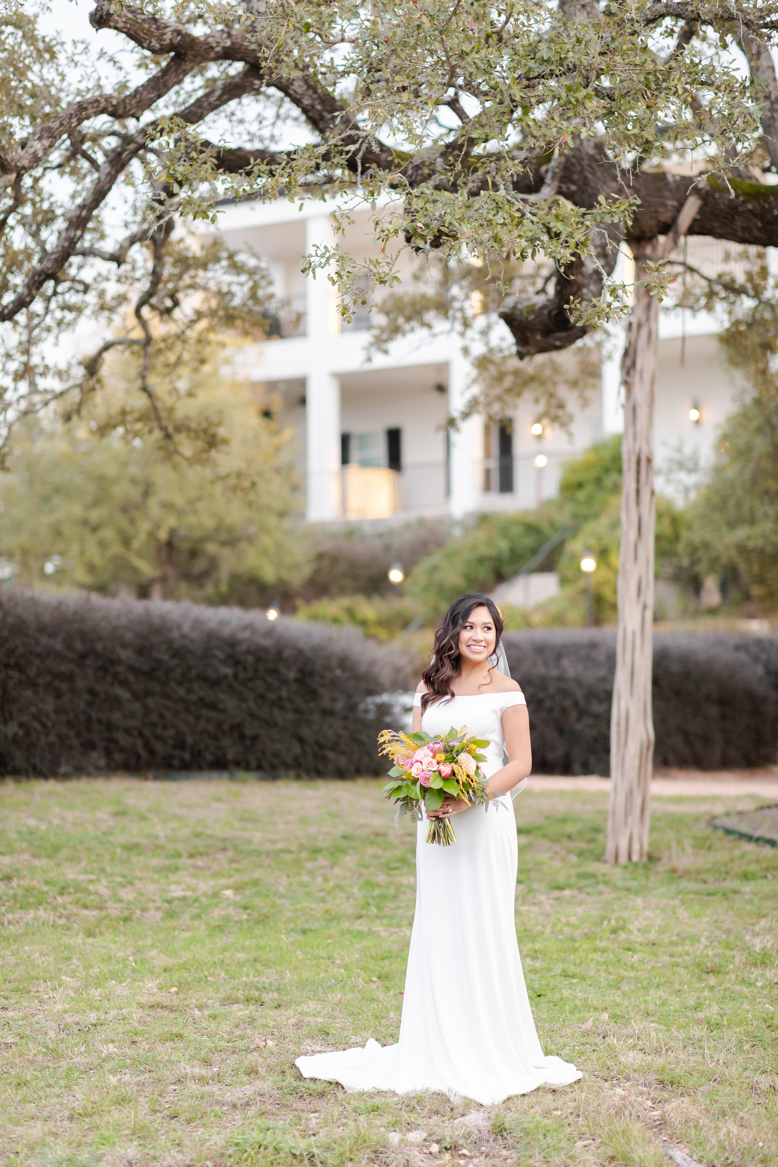 outdoor bridal portraits at Kendall Plantation in Boerne, TX