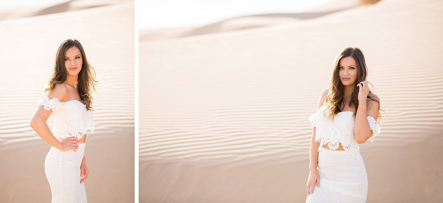 Gorgeous Bride During Glamis Wedding in the Sand Dunes