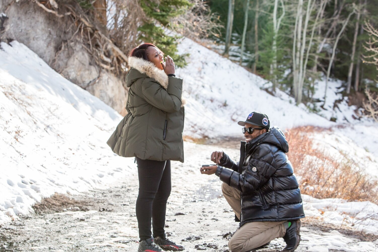 Proposal photography in Colorado in Snowmass along the Ditch Trail