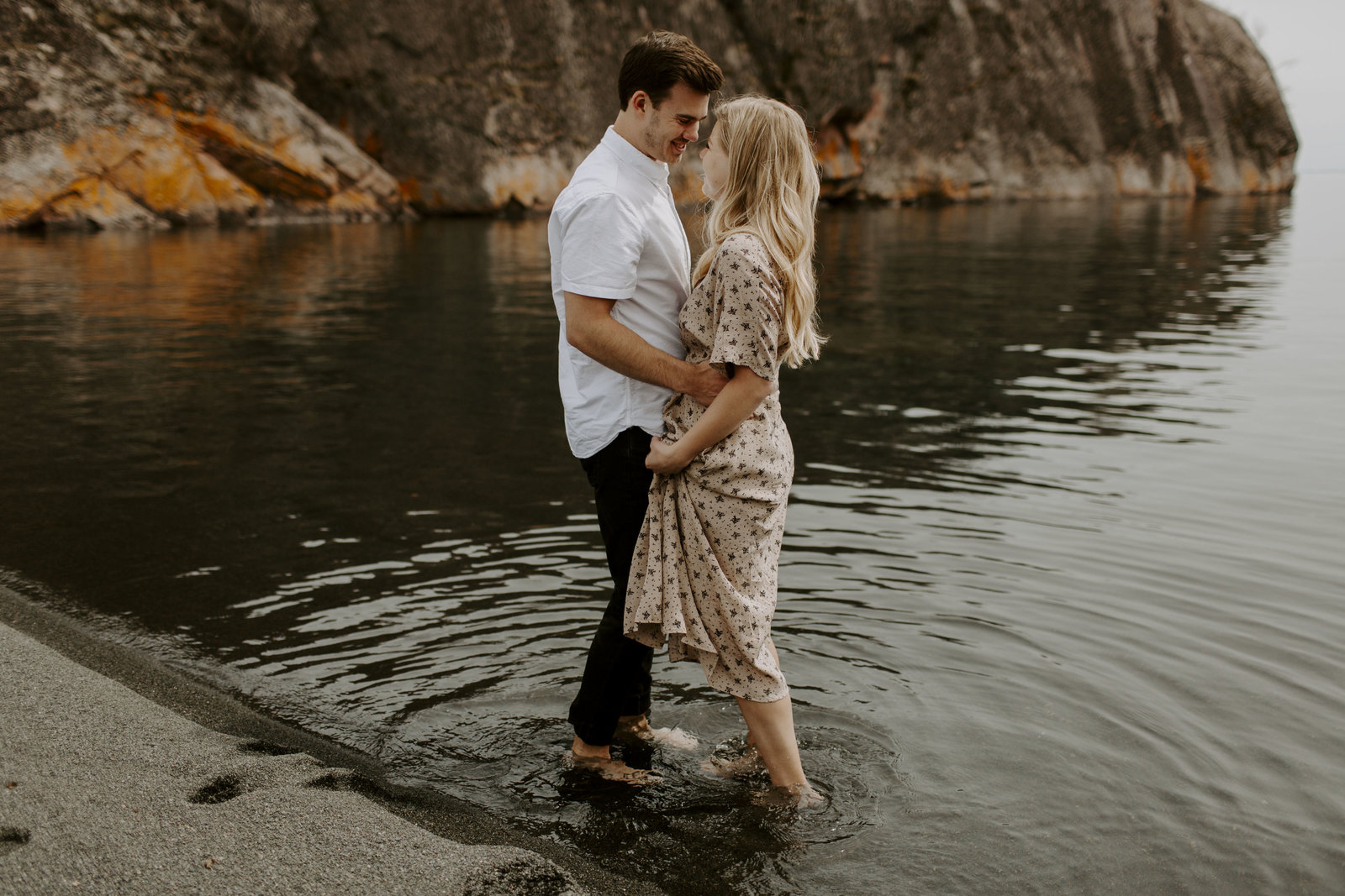 Black Beach Engagement session on the North Shore of Minnesota by Skyler and Vhan