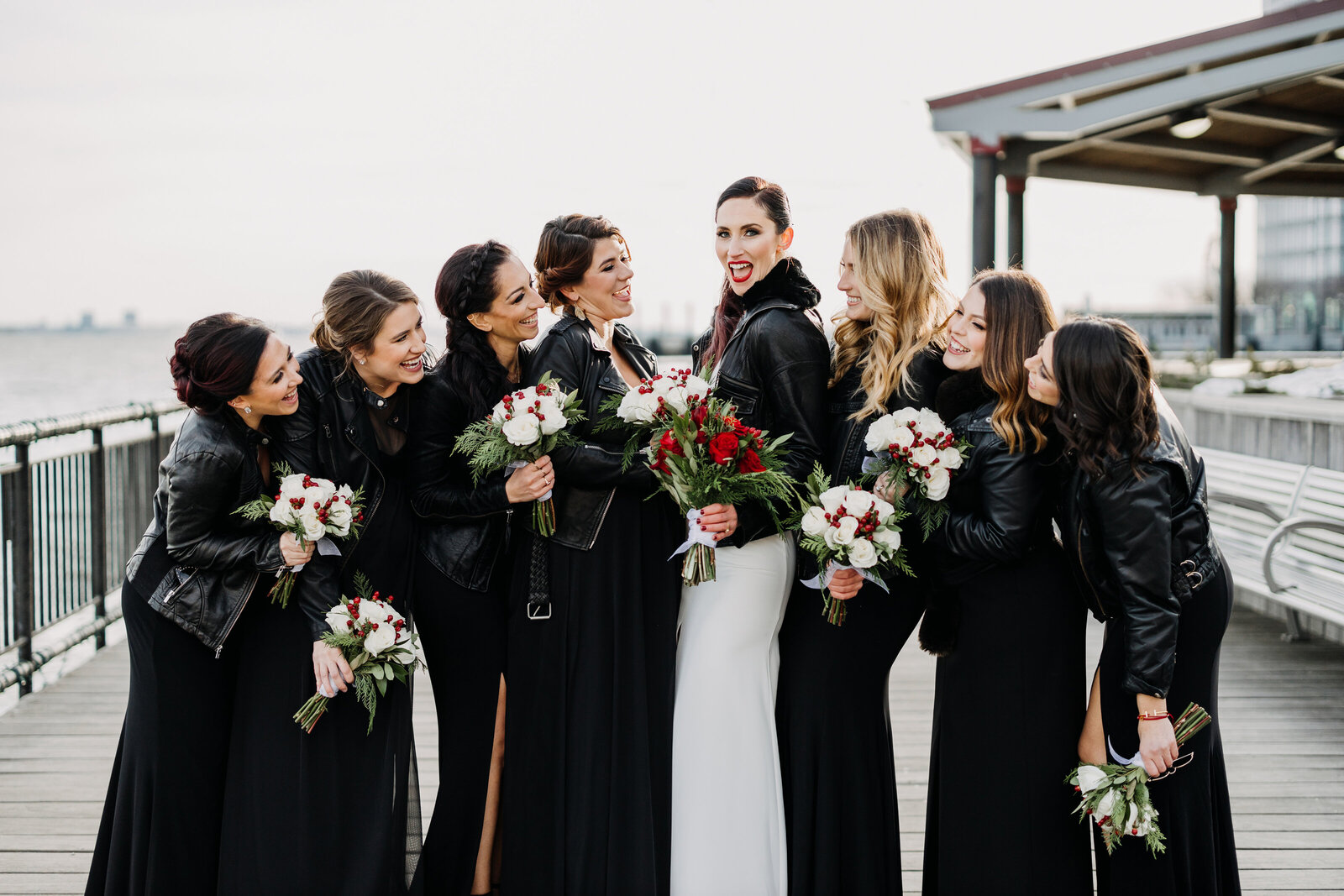 bridesmaids with leather jackets