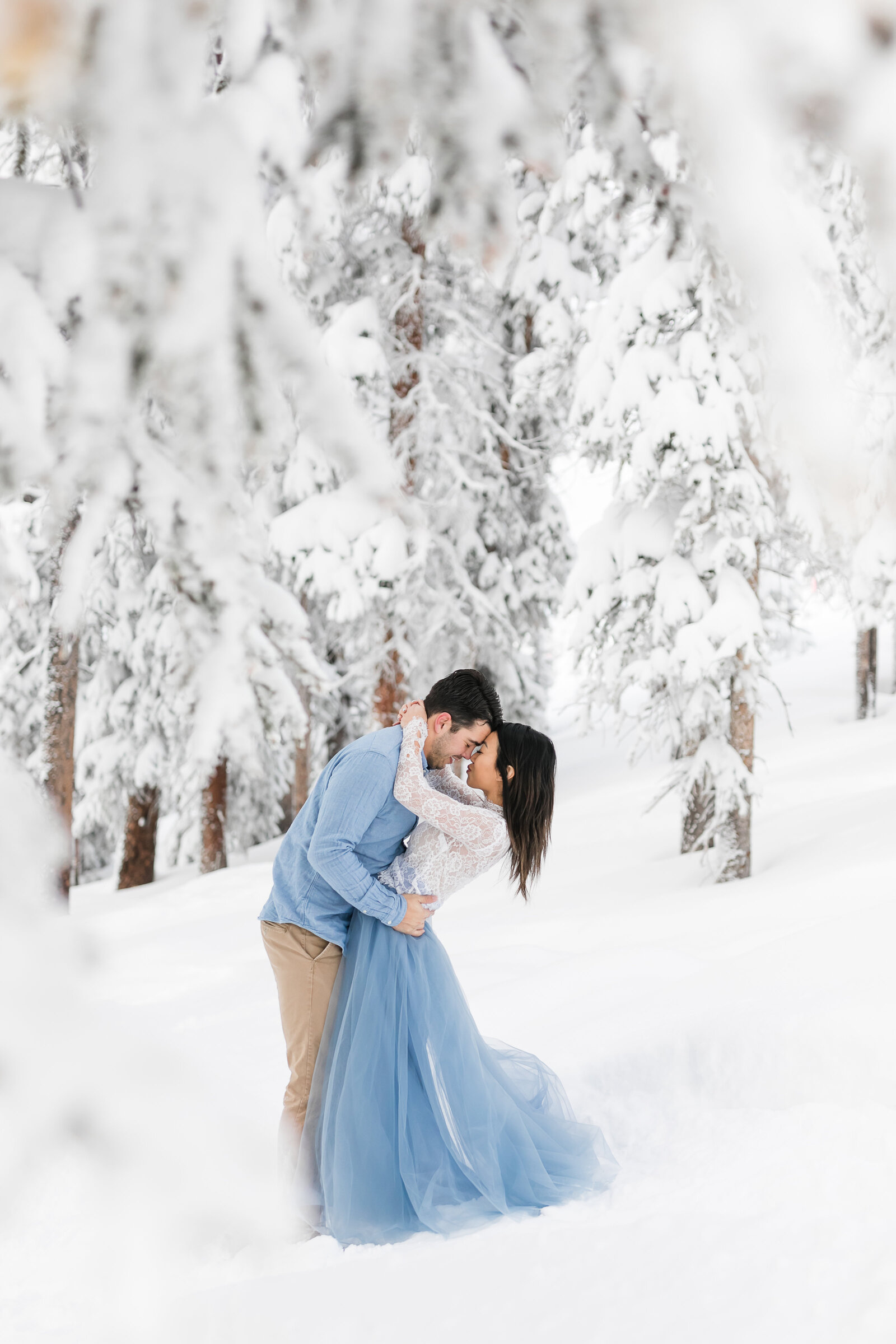 engagement session in snow