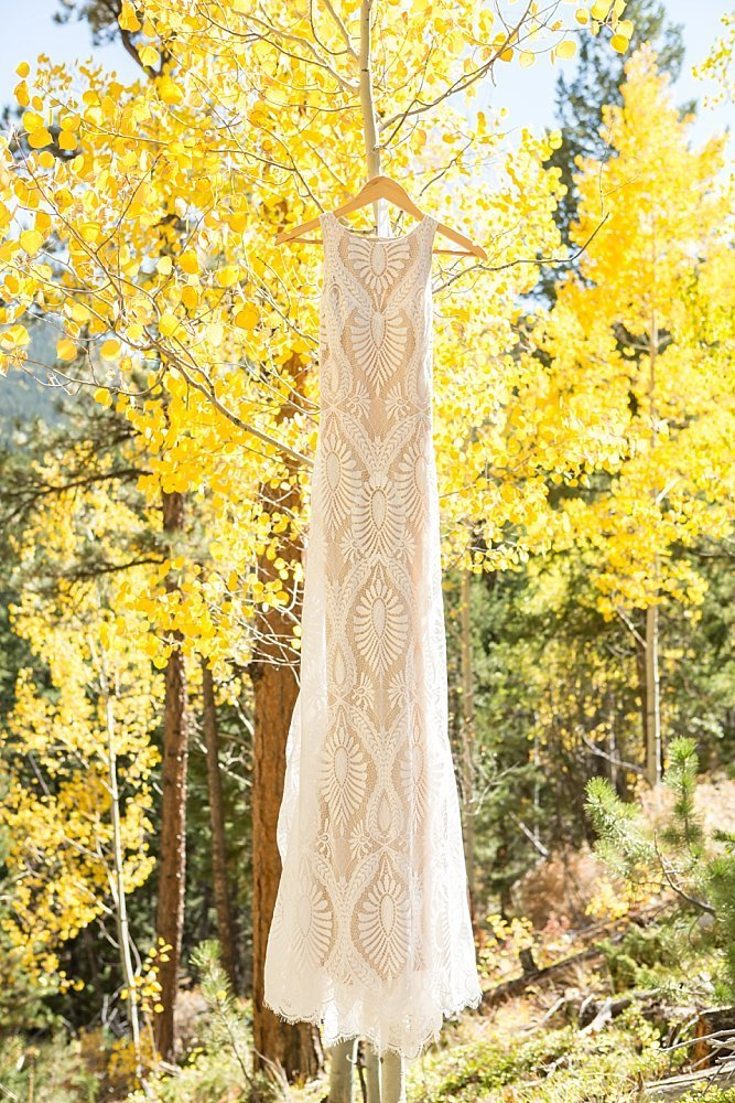 wedding dress in fall colors Idaho Springs