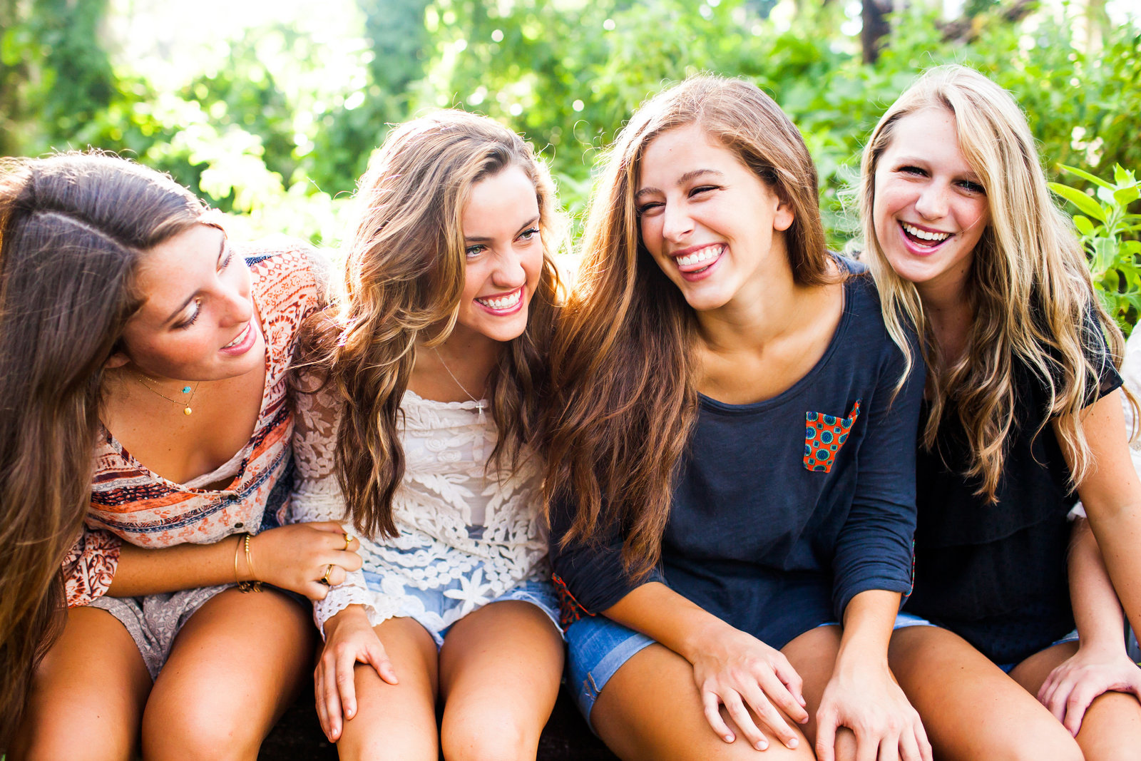 Girls laughing in lush Florida setting