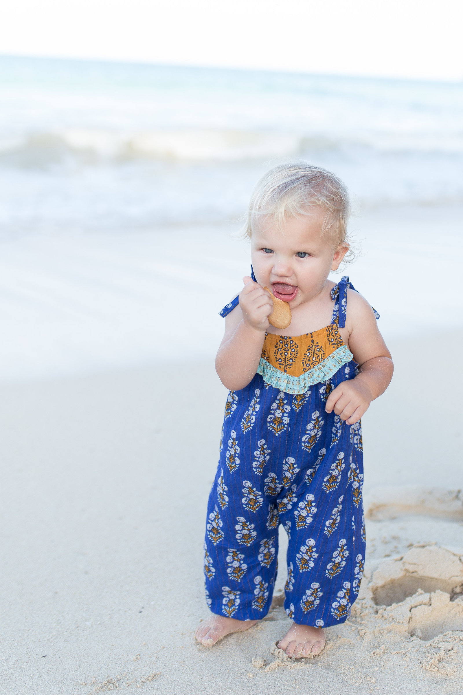 Oahu, Hawaii Lifestyle Photographer - Lifestyle Photography - Brooke Flanagan Photography - Little girl in blue on the beach