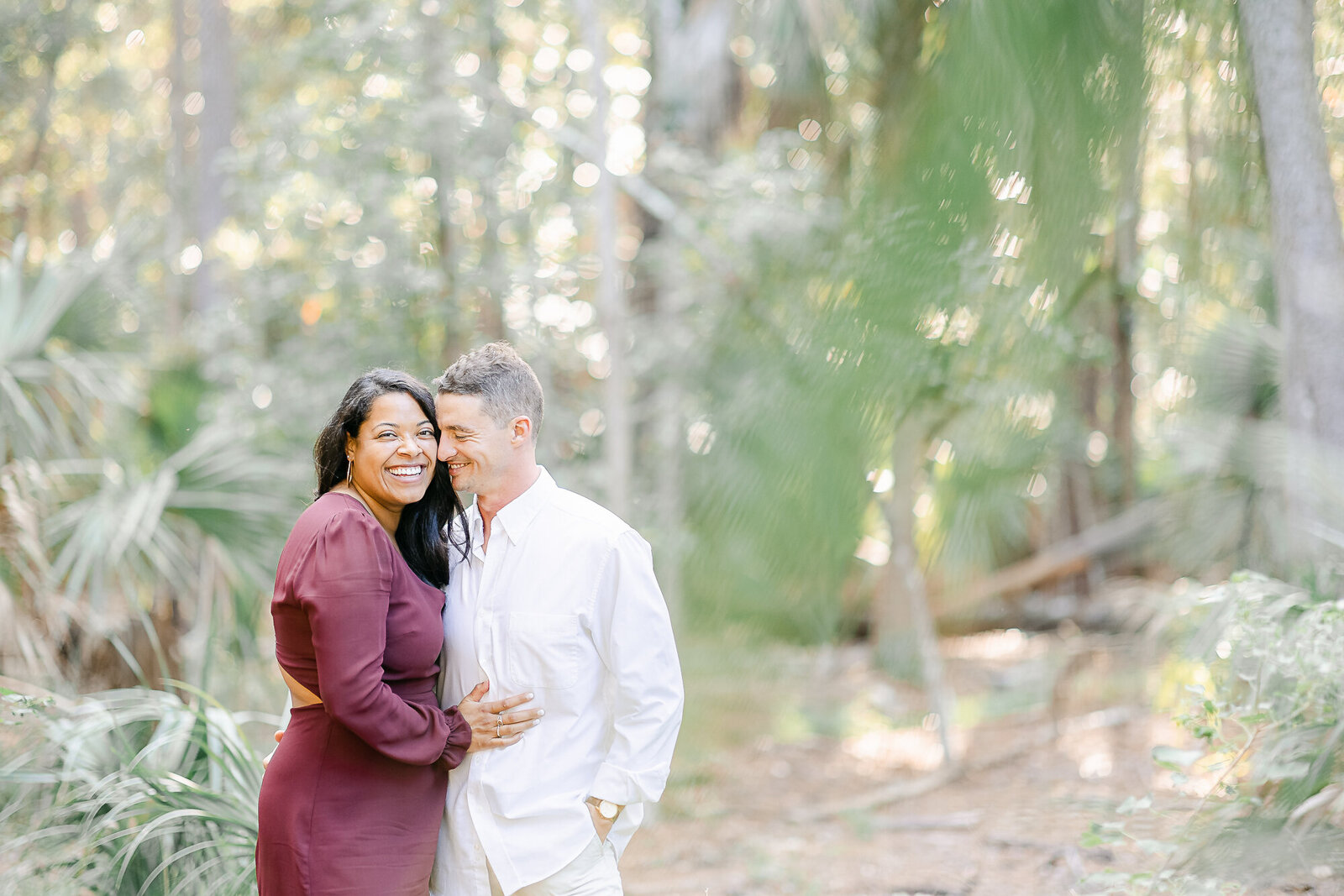 Man and Woman during their engagement session in Savannah GA.