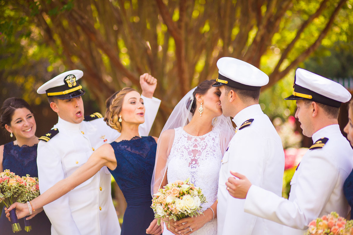 a bridal party cheering in annapolis maryland