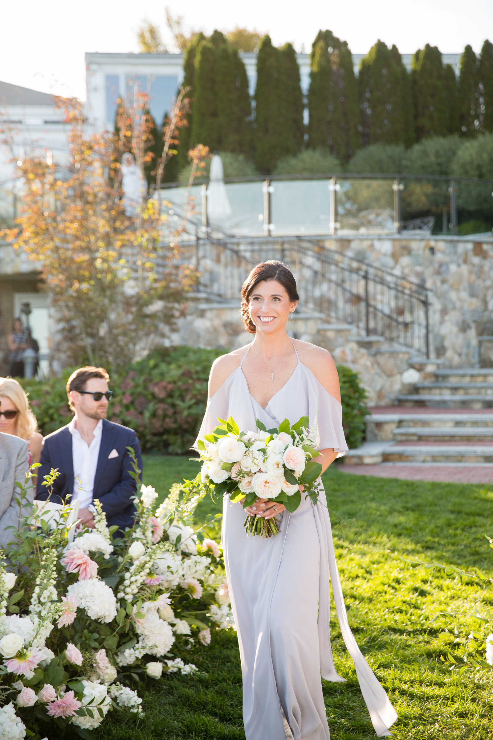 Gray off the shoulder bridesmaids dress for Cape Cod Wedding