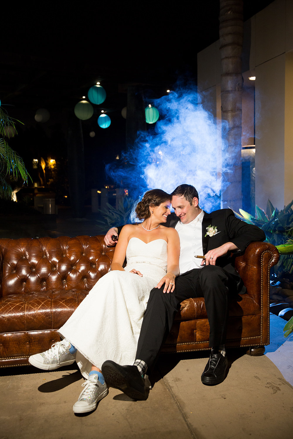 nightshot with smoke bride and groom