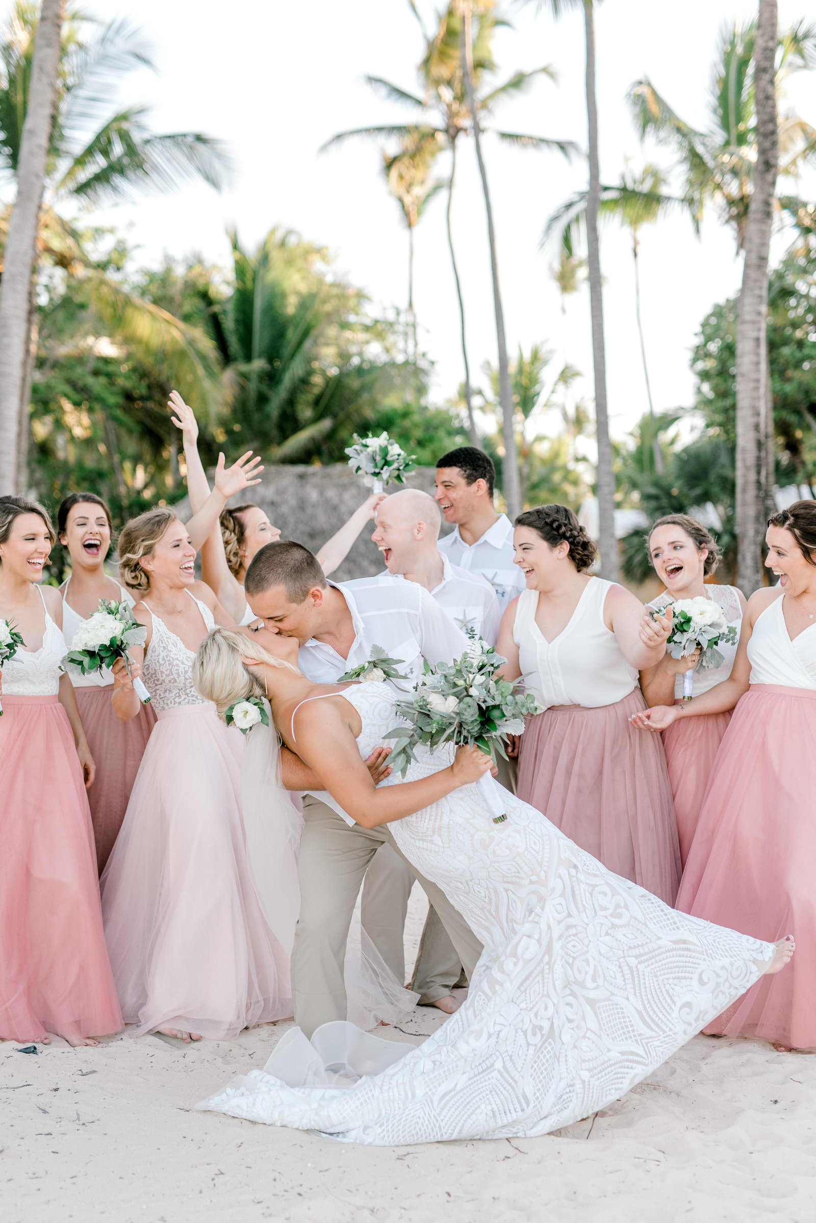 Carribbean Wedding- Bridal Party at Destination Wedding