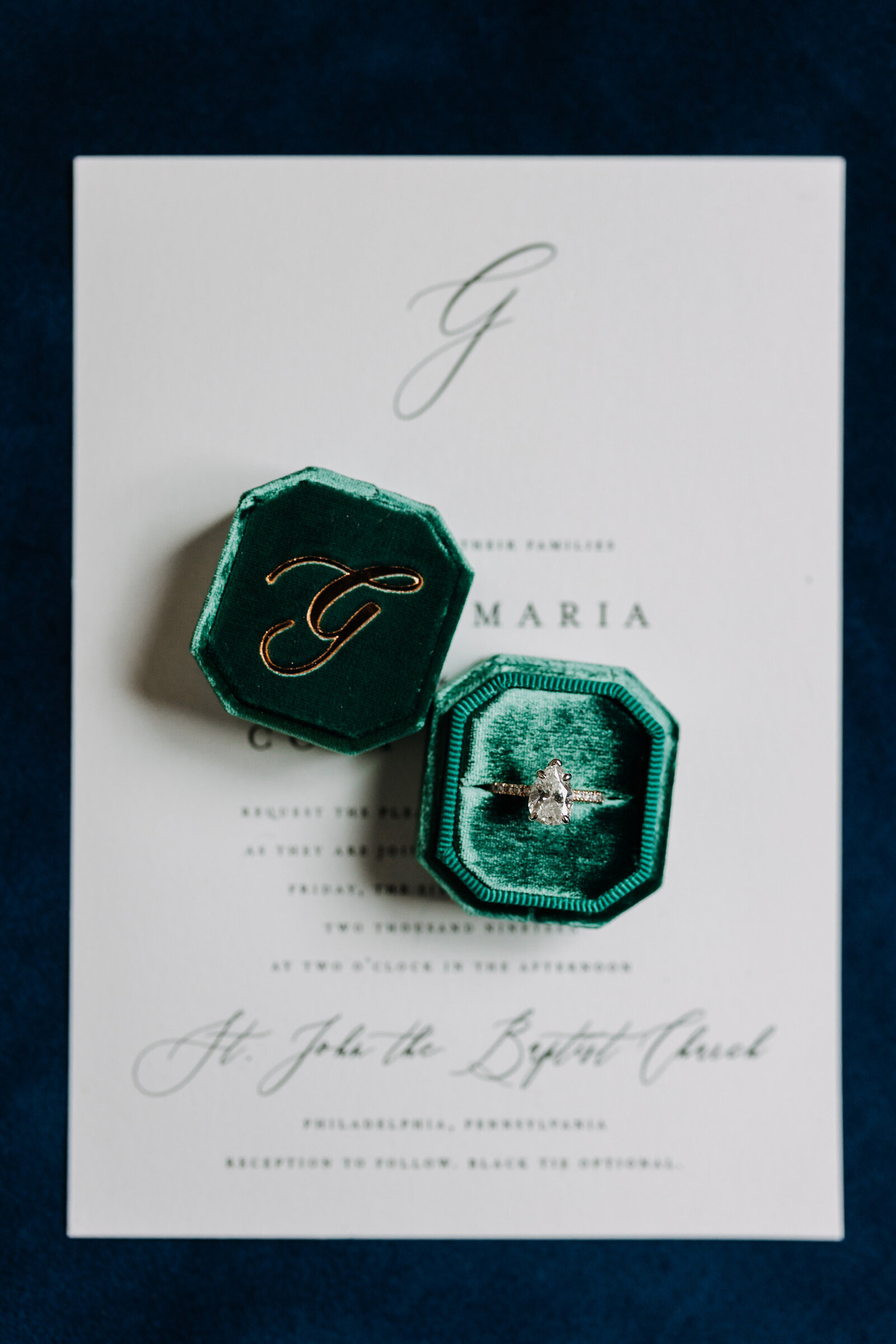 wedding ring in green velvet ring box