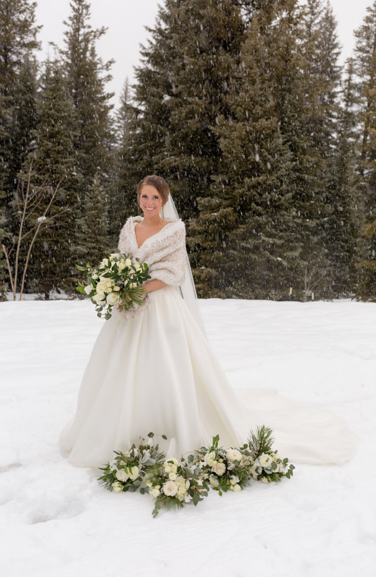 Winter Wedding Bride with Flowers and Bouquet