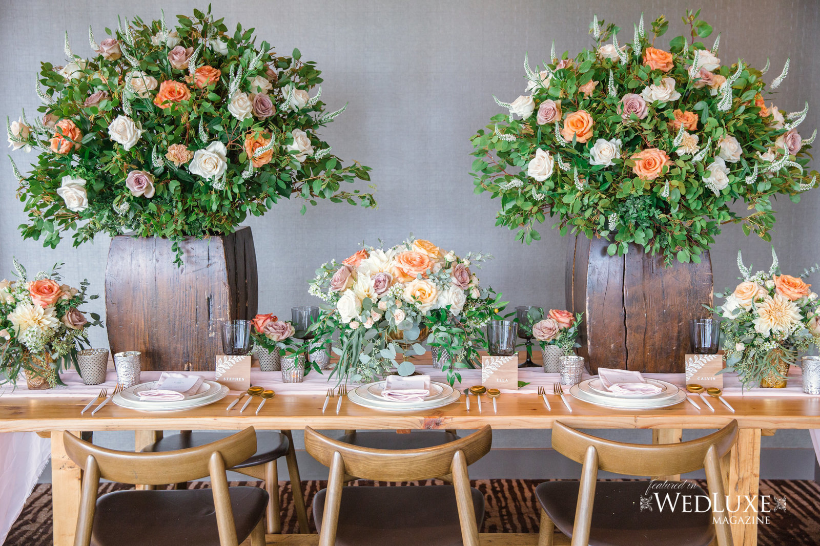Styled Wedluxe Magazine Rustic Retreat  table setting