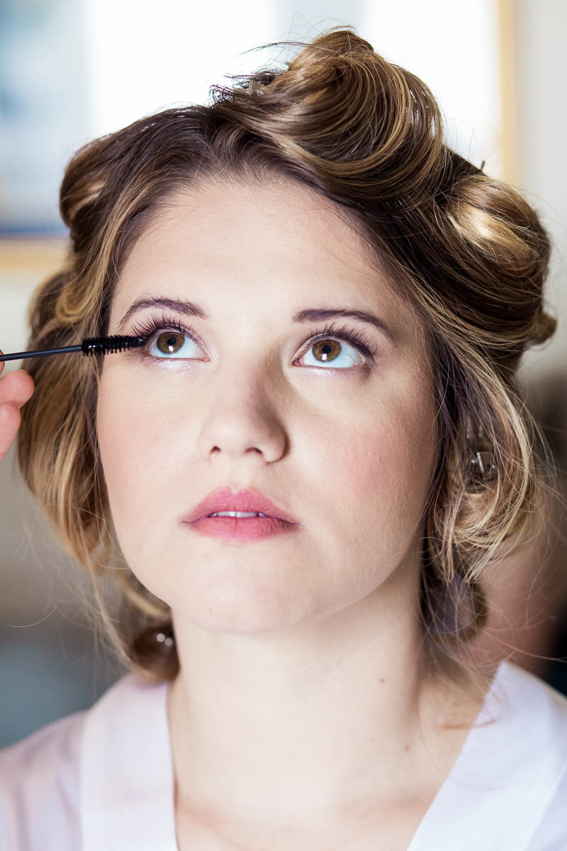 Bride gets makeup done, The Island House, Charleston, South Carolina. Kate Timbers Photography.