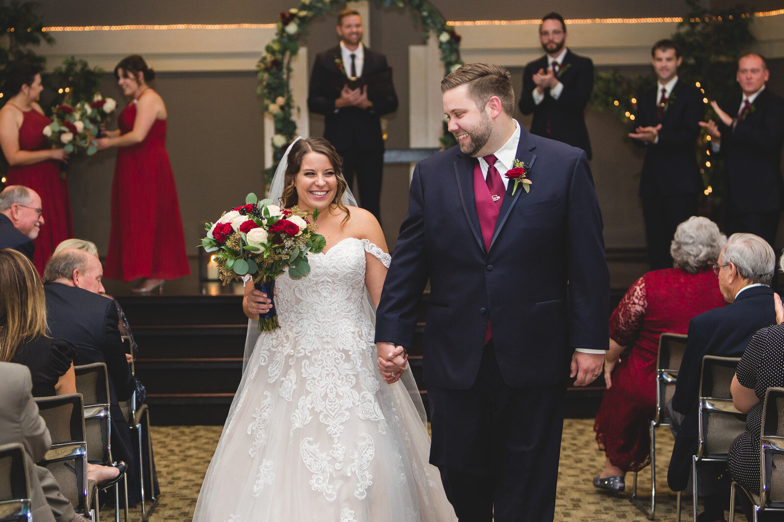 wedding day recessional vineyard columbus ohio bride and groom