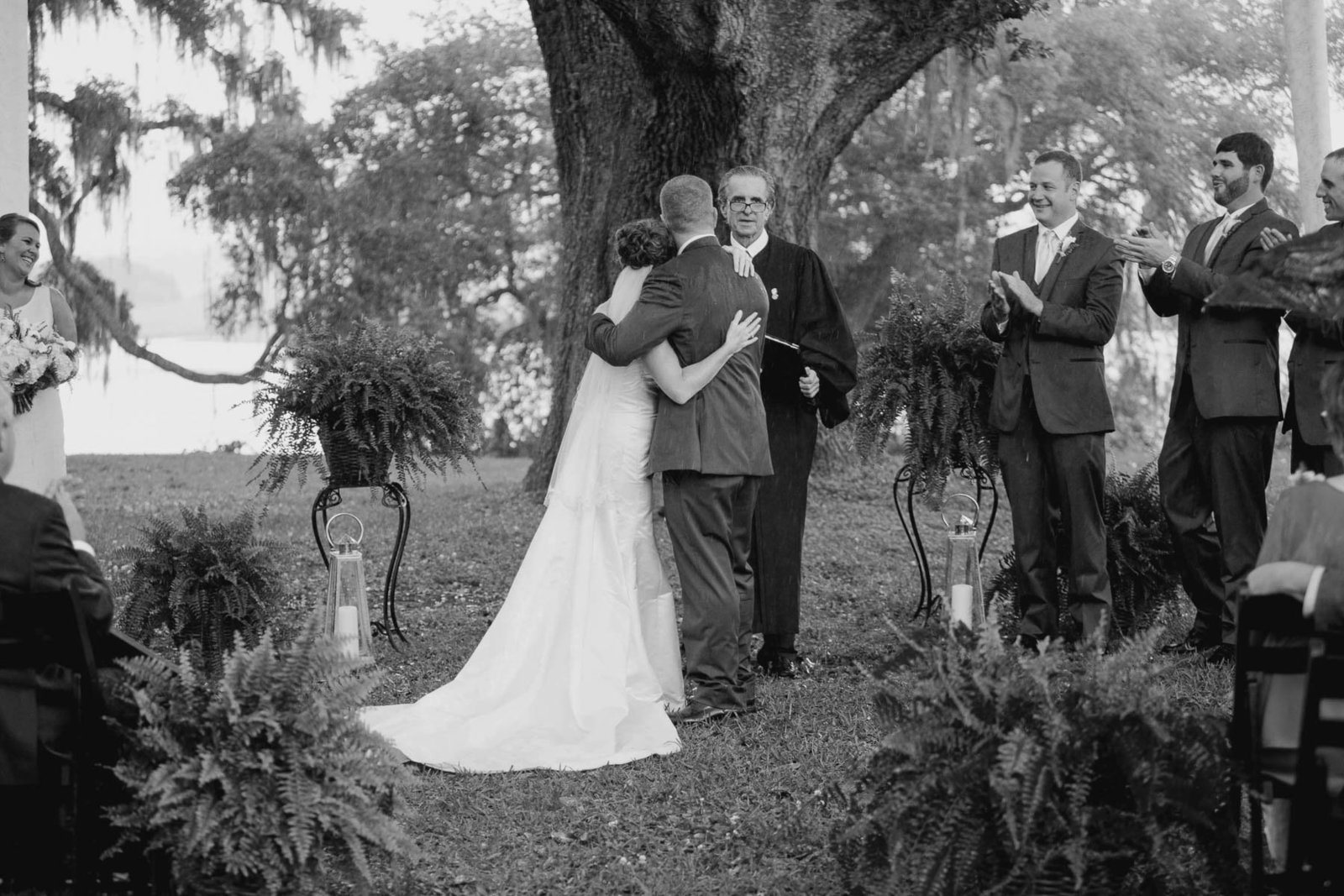 Bride and groom are announced, Old Wide Awake Plantation, Charleston, South Carolina