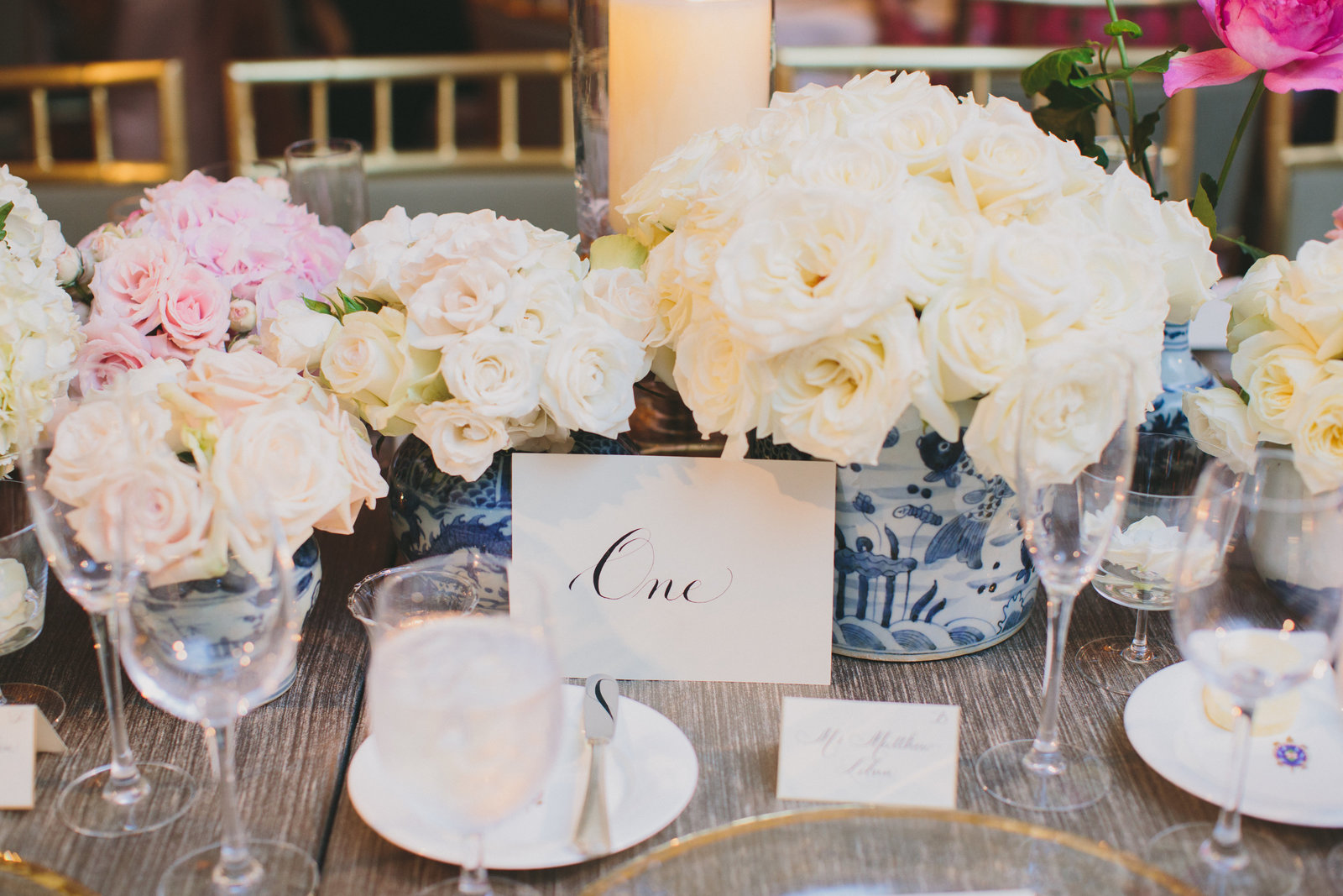luxury wedding reception with florals from jackson durham classic blue and white