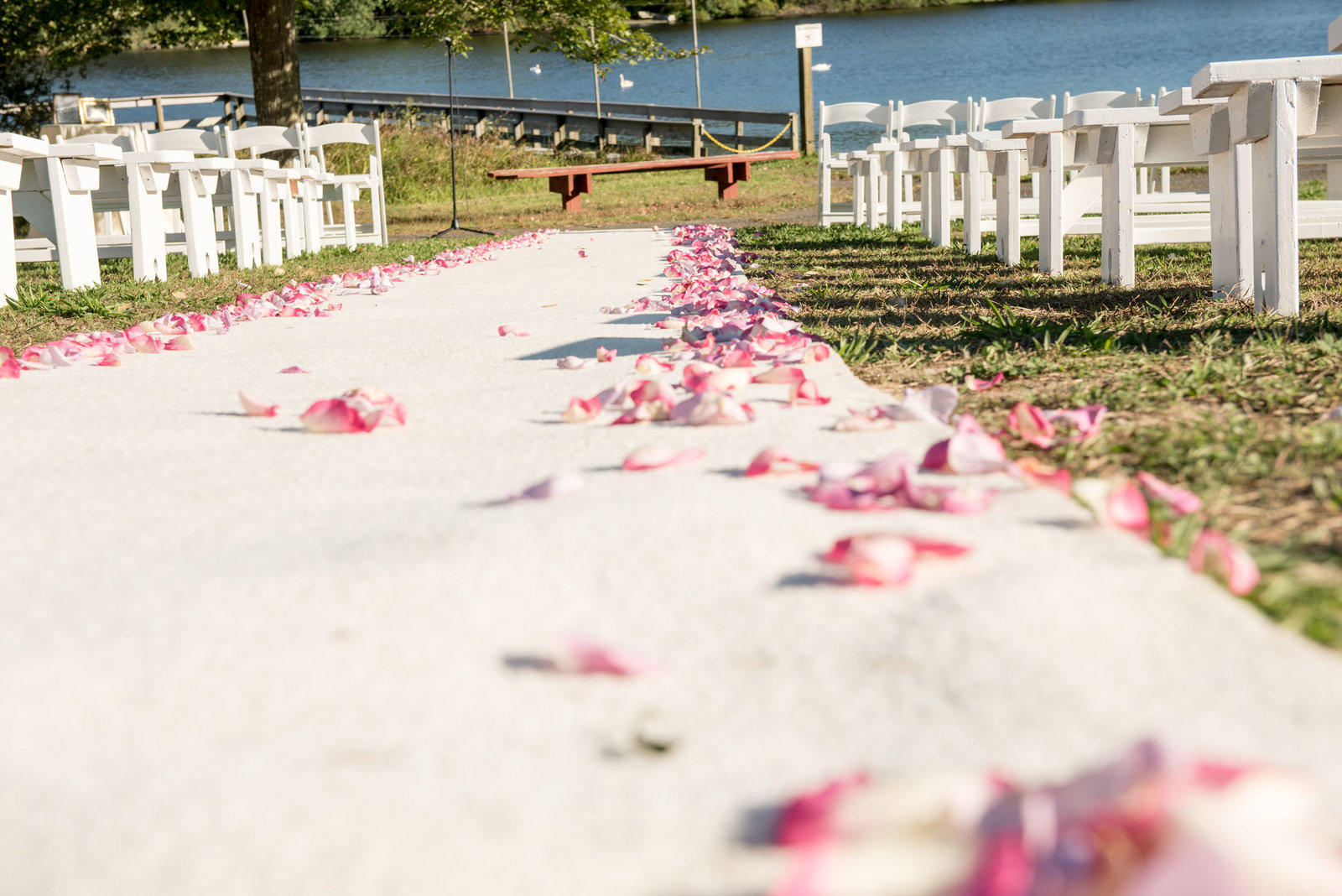 Flowers on the aisle at Camp Pa-Qua-Tuck