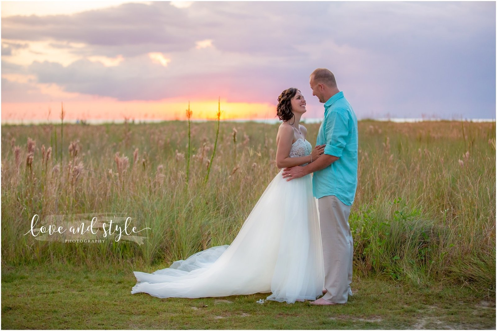Bride and groom portrait at sunset on Siesta Key Beach