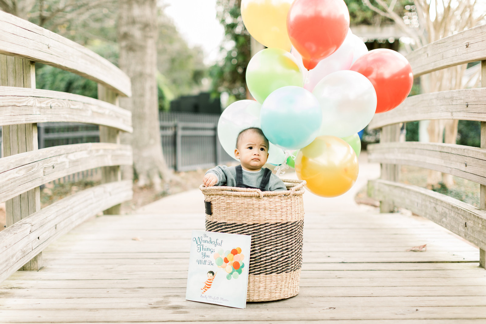 Baby boy in a basket with balloons celebrating his first birthday milestone at Helen's Park