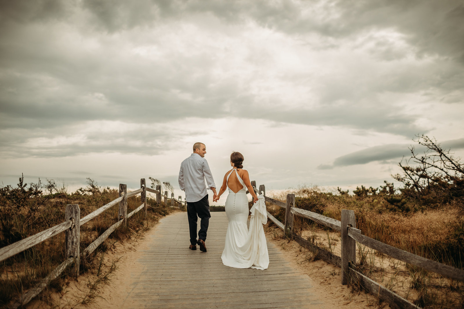 bride and groom elope on beach on cape cod