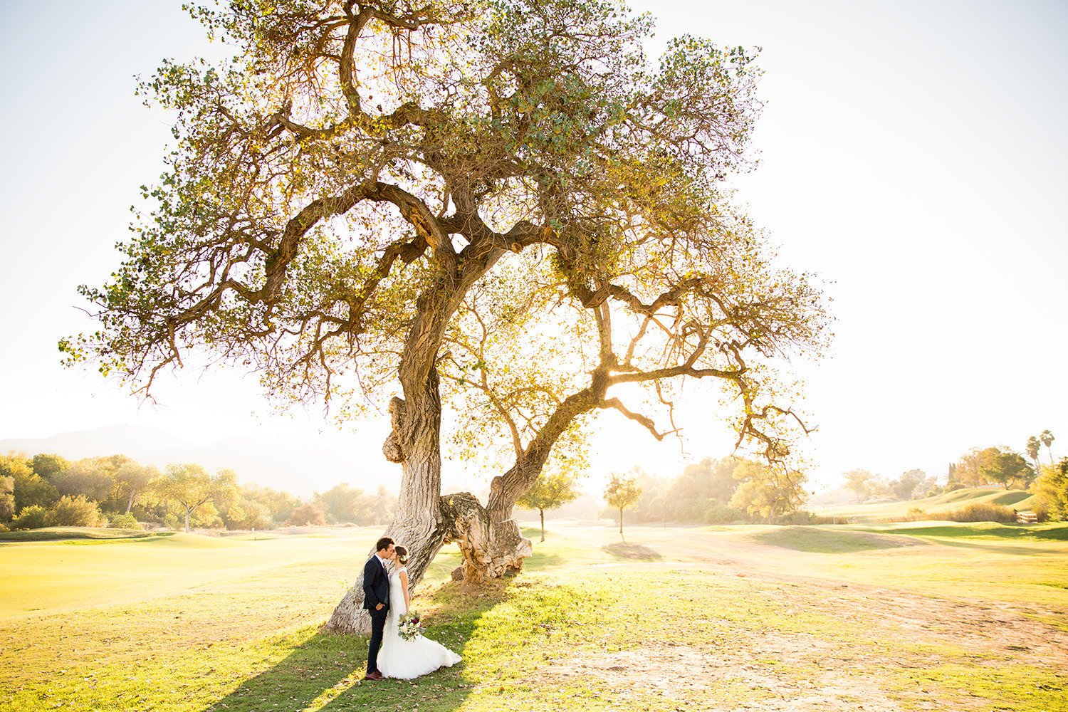 beautiful light with bride and groom at carlton oaks country club