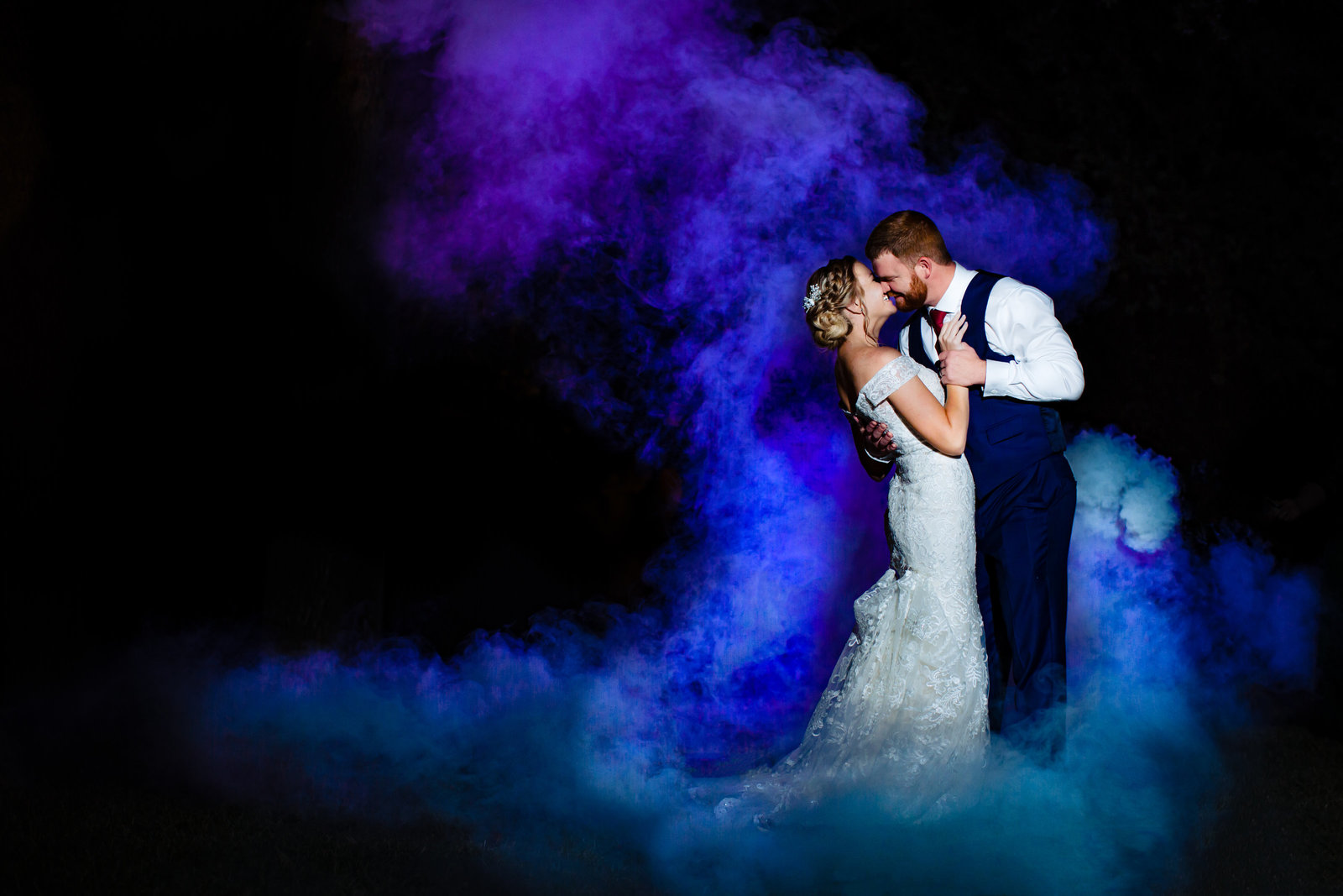Smoke Bomb Bride and Groom Portrait in San Antonio