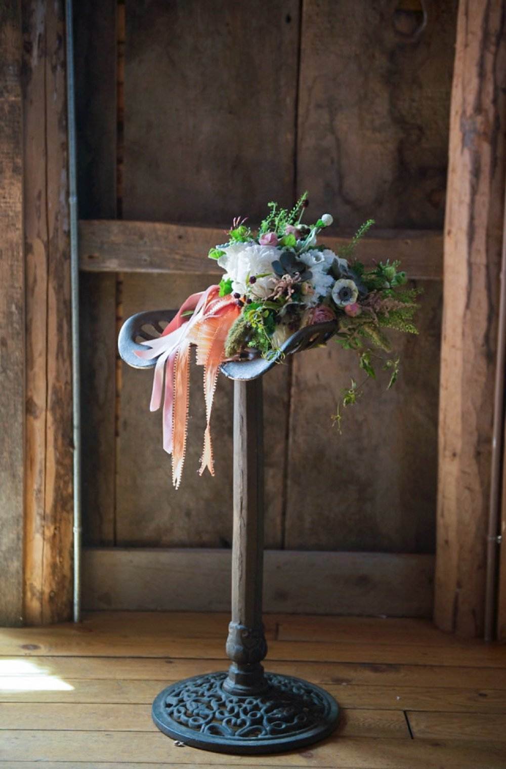 Gorgeous rustic wedding bouquet in blush, white and green