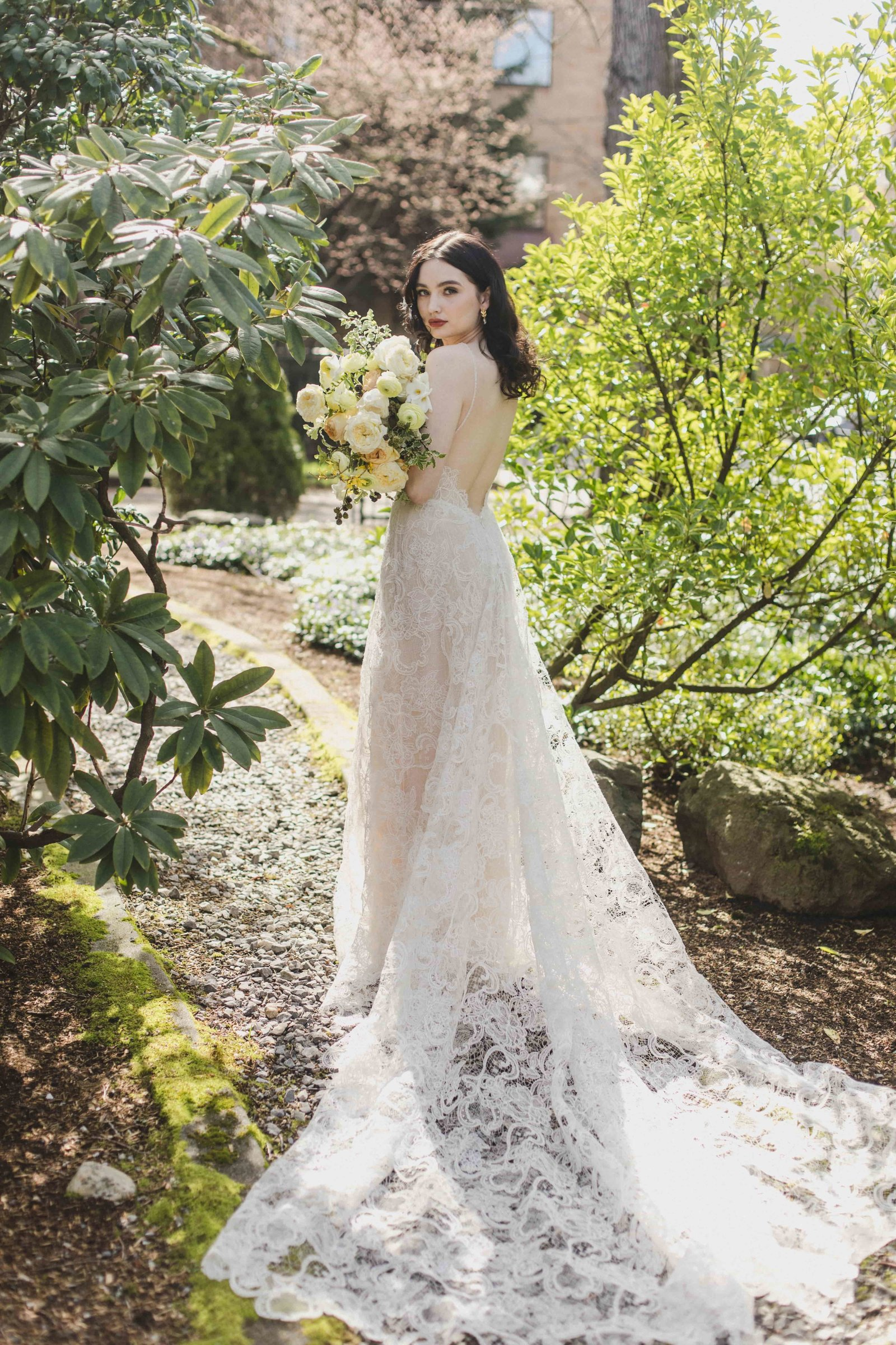 garden wedding lace wedding dress florals-min