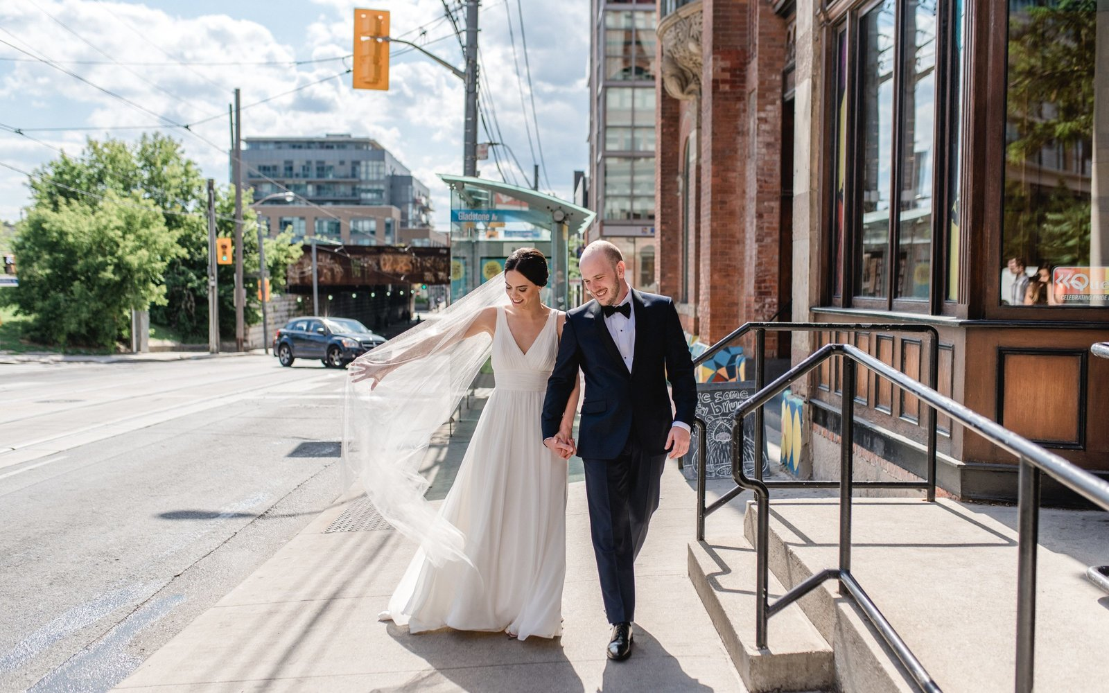 Bride Groom Portraits Fun Gladstone Hotel Toronto Ontario Wedding Photography  Queen Street | Jacqueline James Photography