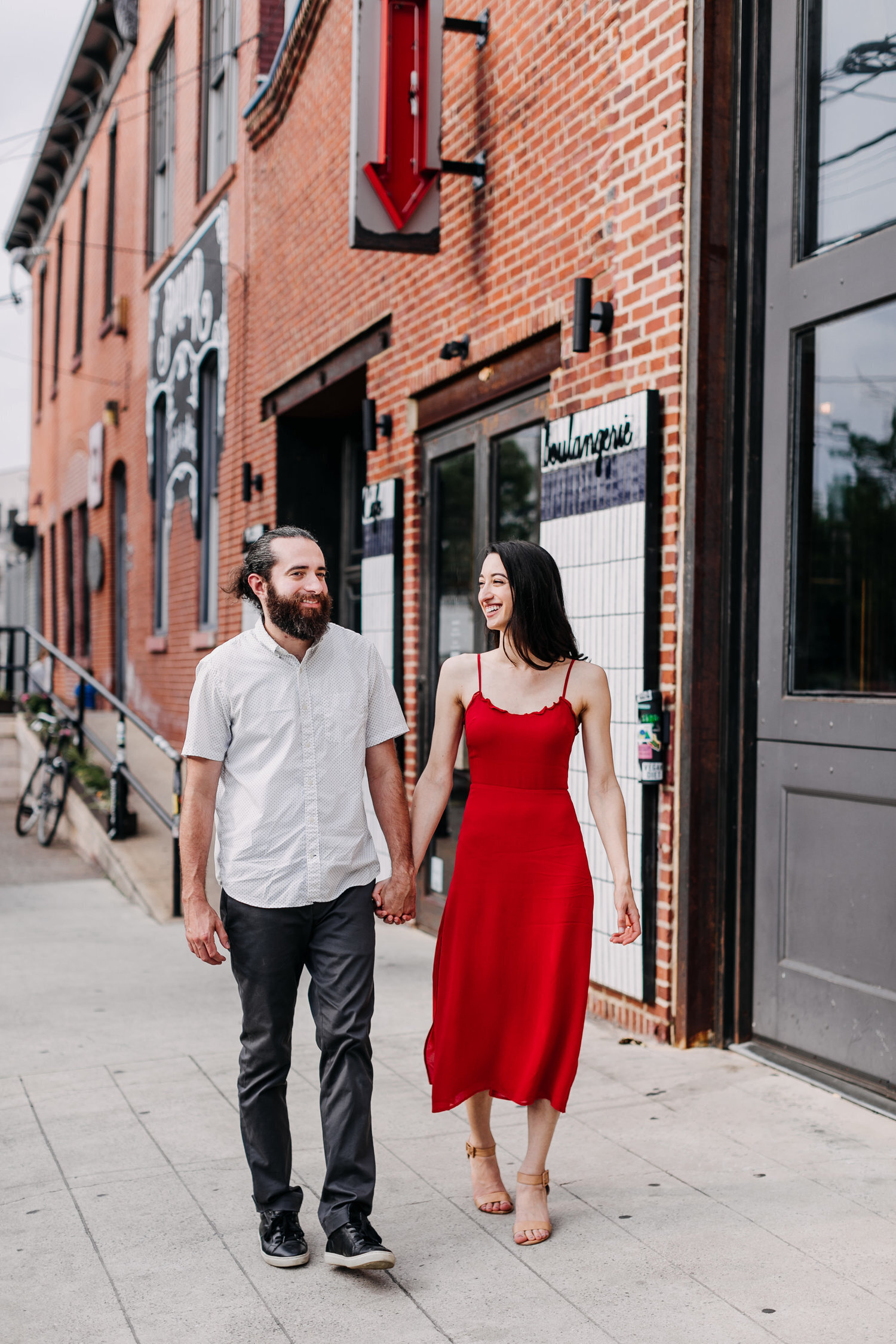 engaged couple city fishtown
