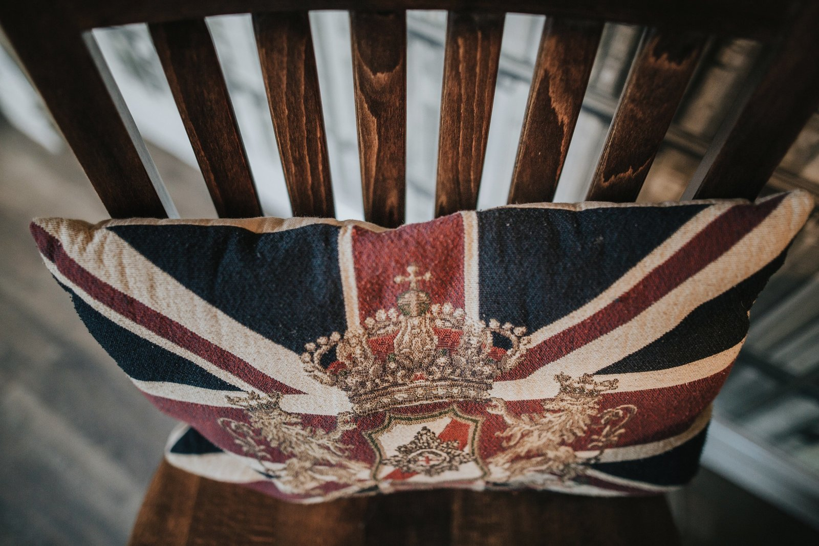 Union Jack cushion on a chair in Baldry's Cottage