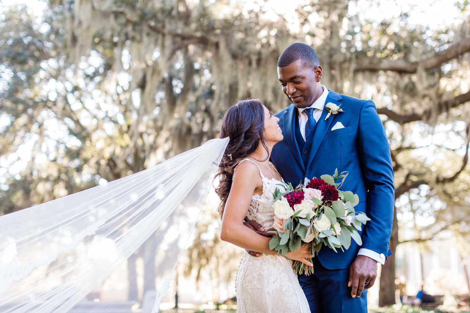 Bride and groom portraits in Downtown Savannah by Apt. B Photography