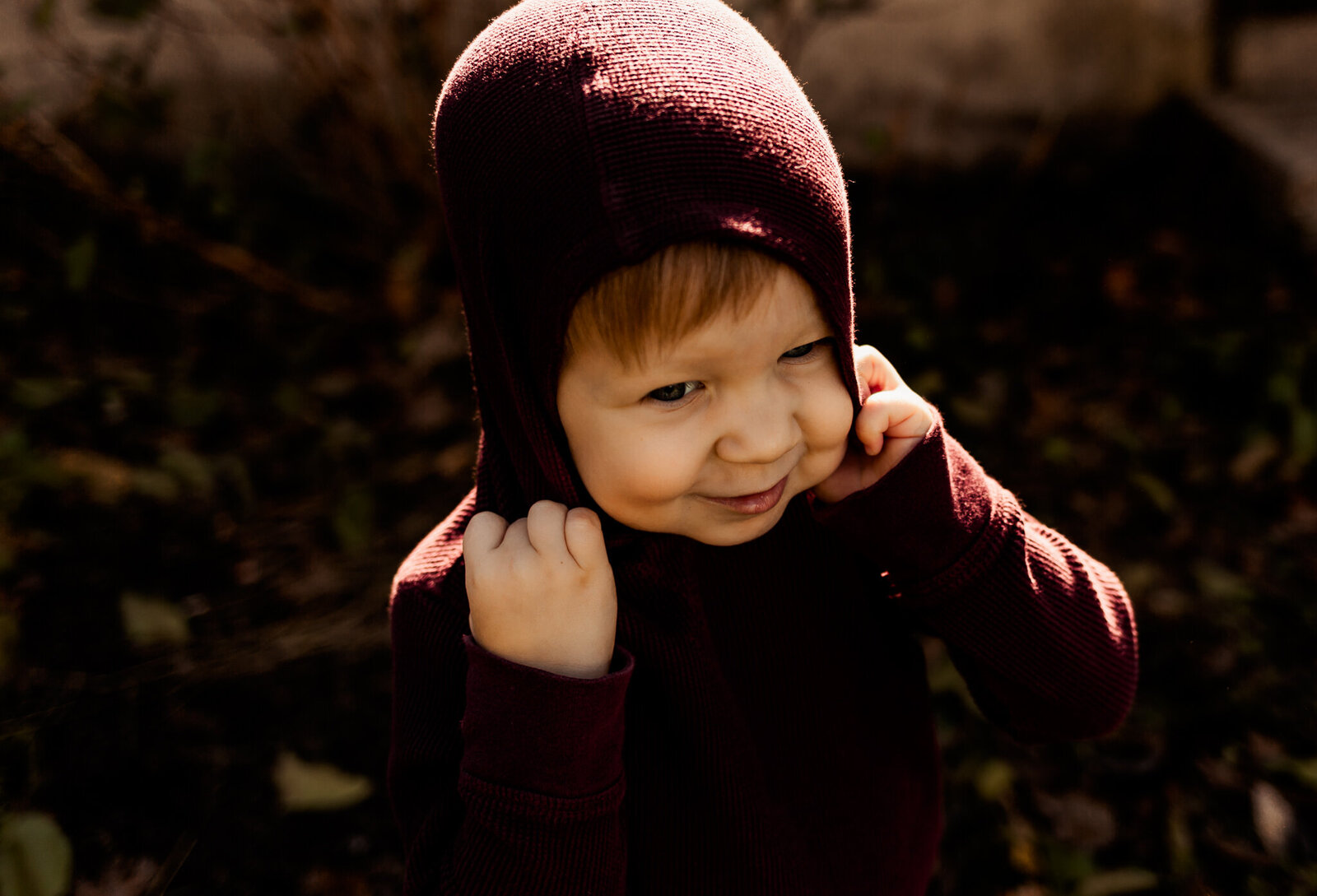 little boy in hood shauna scott photography