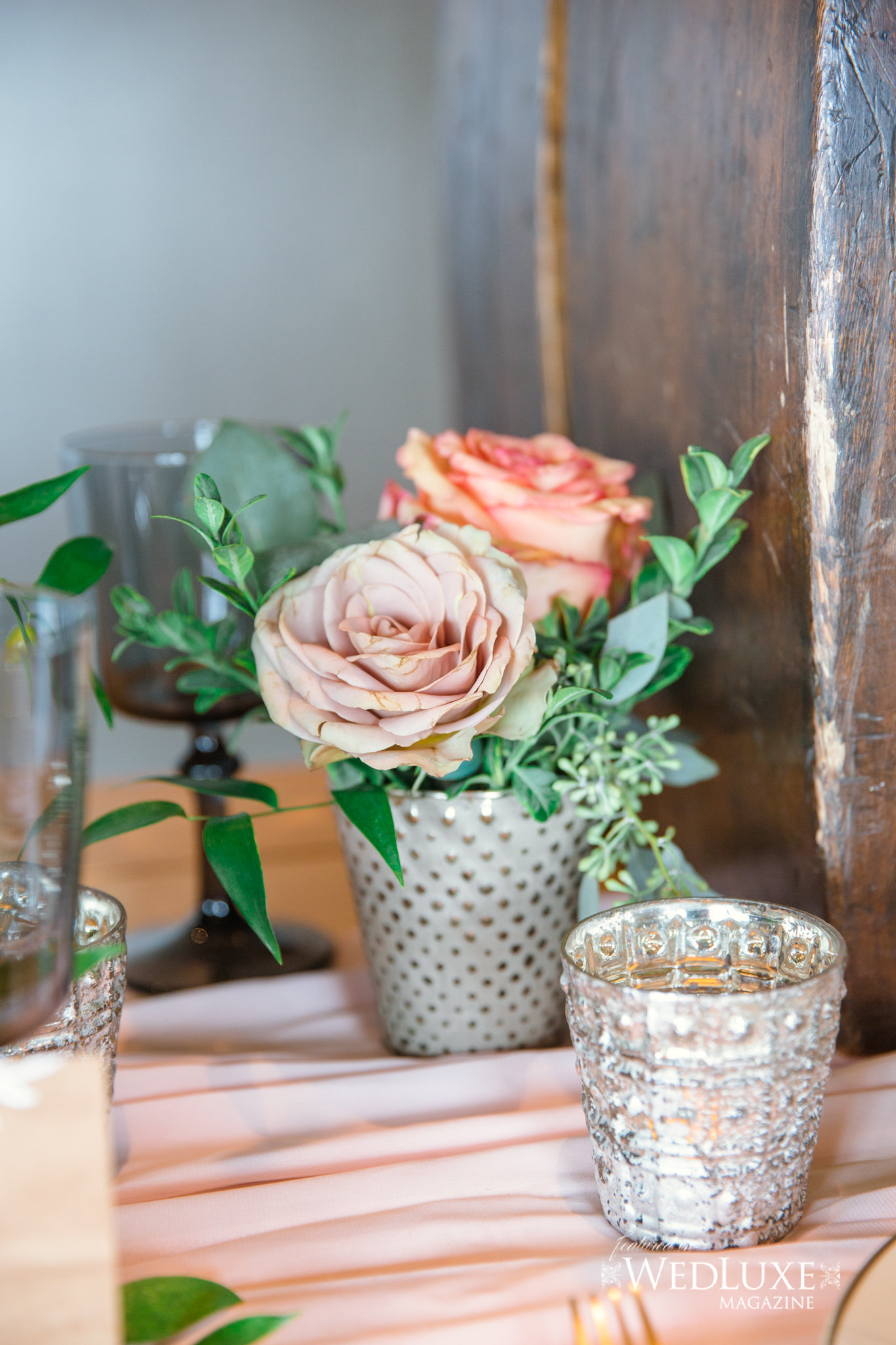 Styled Wedluxe Magazine Rustic Retreat quicksand rose votive