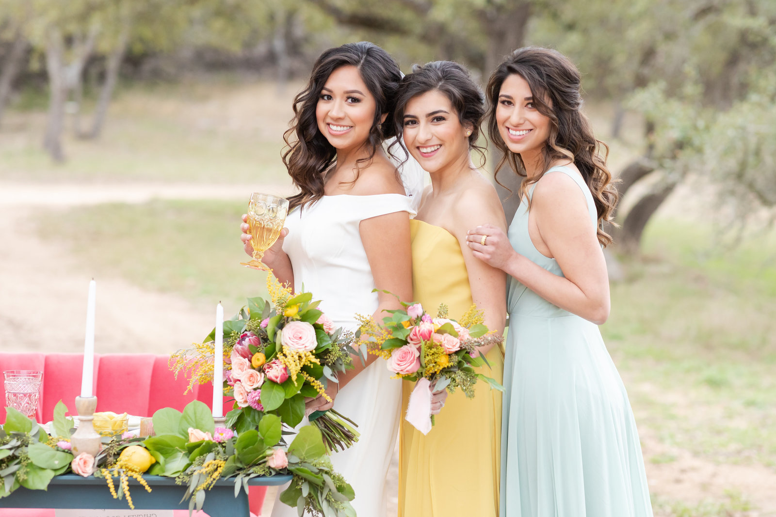 bride and bridesmaids at Kendall Plantation in Boerne, TX