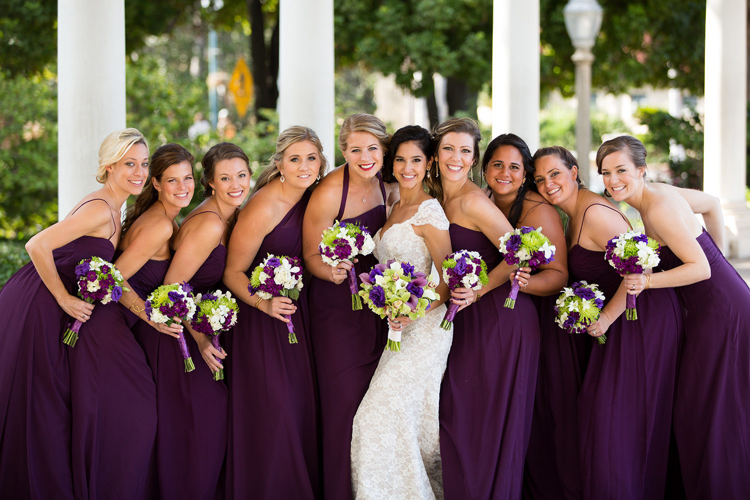 bridesmaids in plum dresses