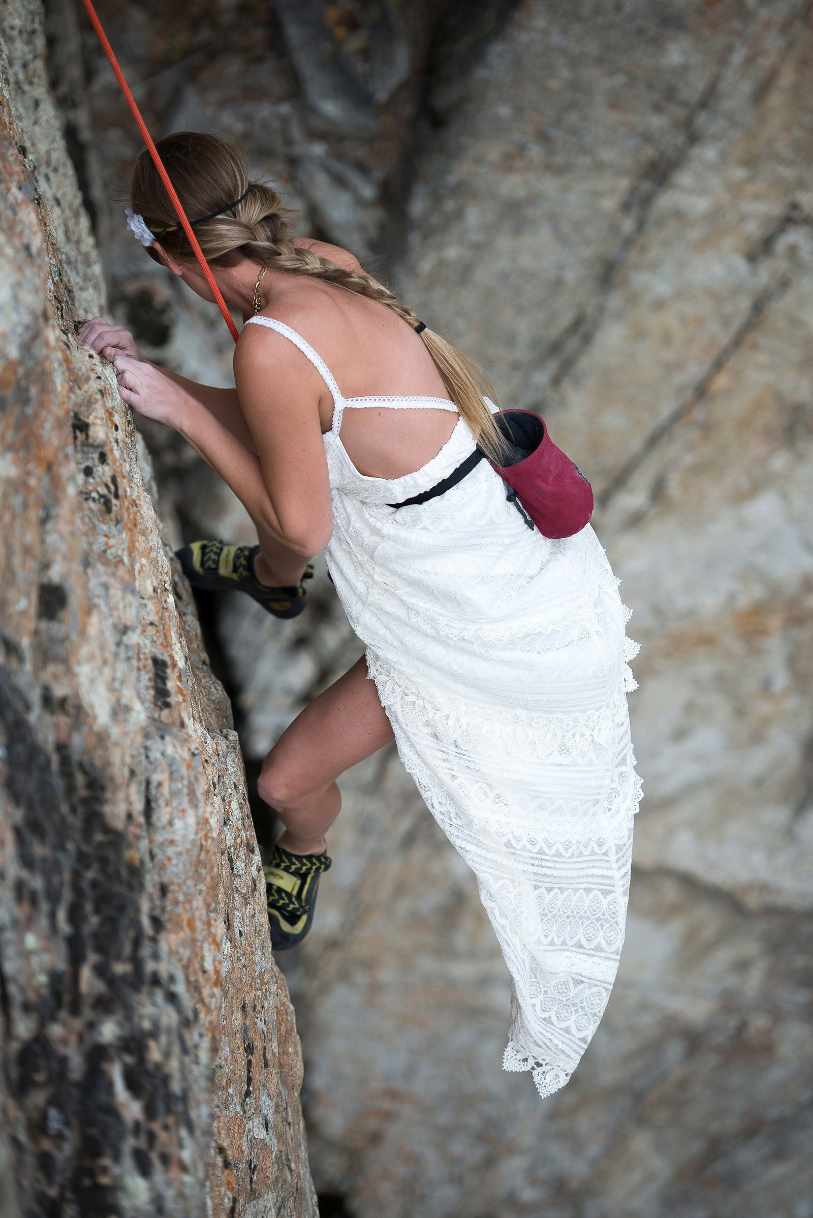 Rock climbing bride in an Active Adventure Wedding  - MAKE Adventure Stories Photgophy