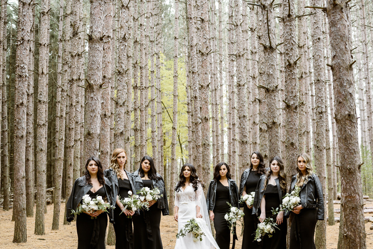 Bridemaids in leather jackets