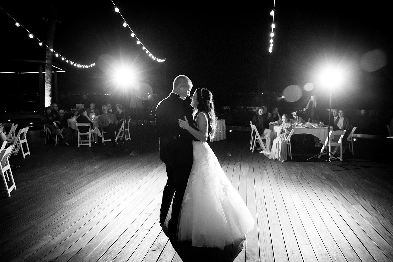 romantic first dance image at ocean view room