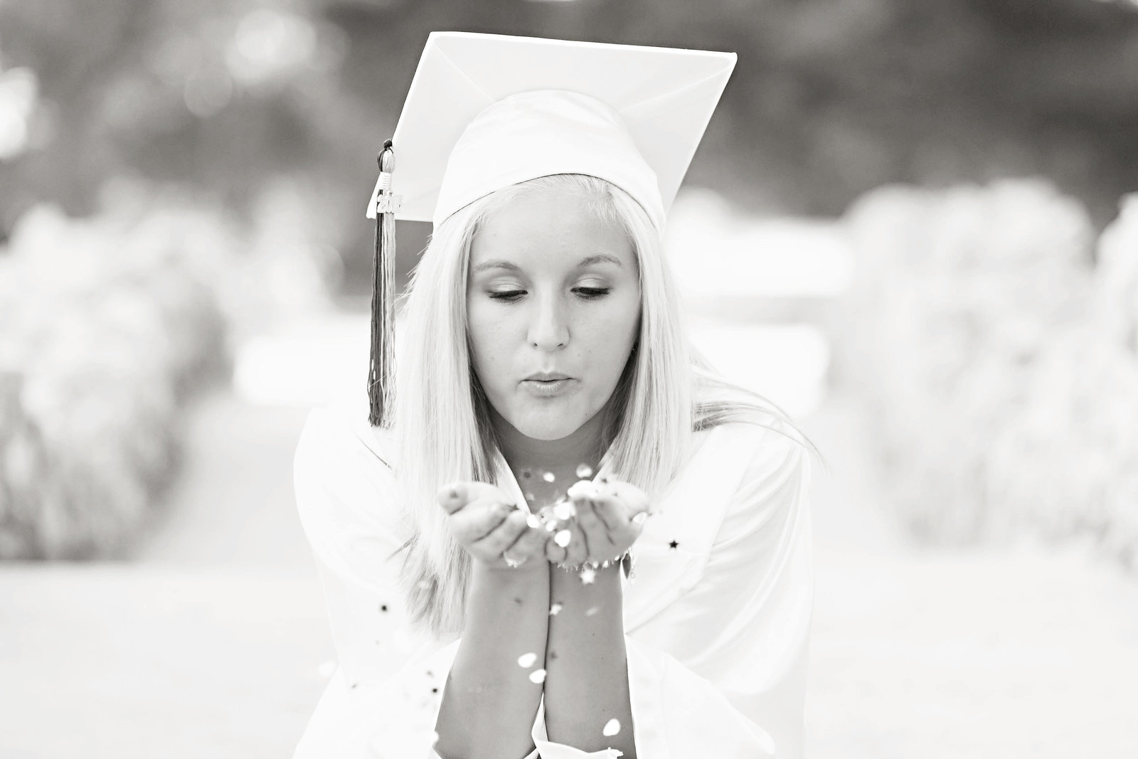 Senior girl-cap and gown-confetti-black and white-Sunken Gardens
