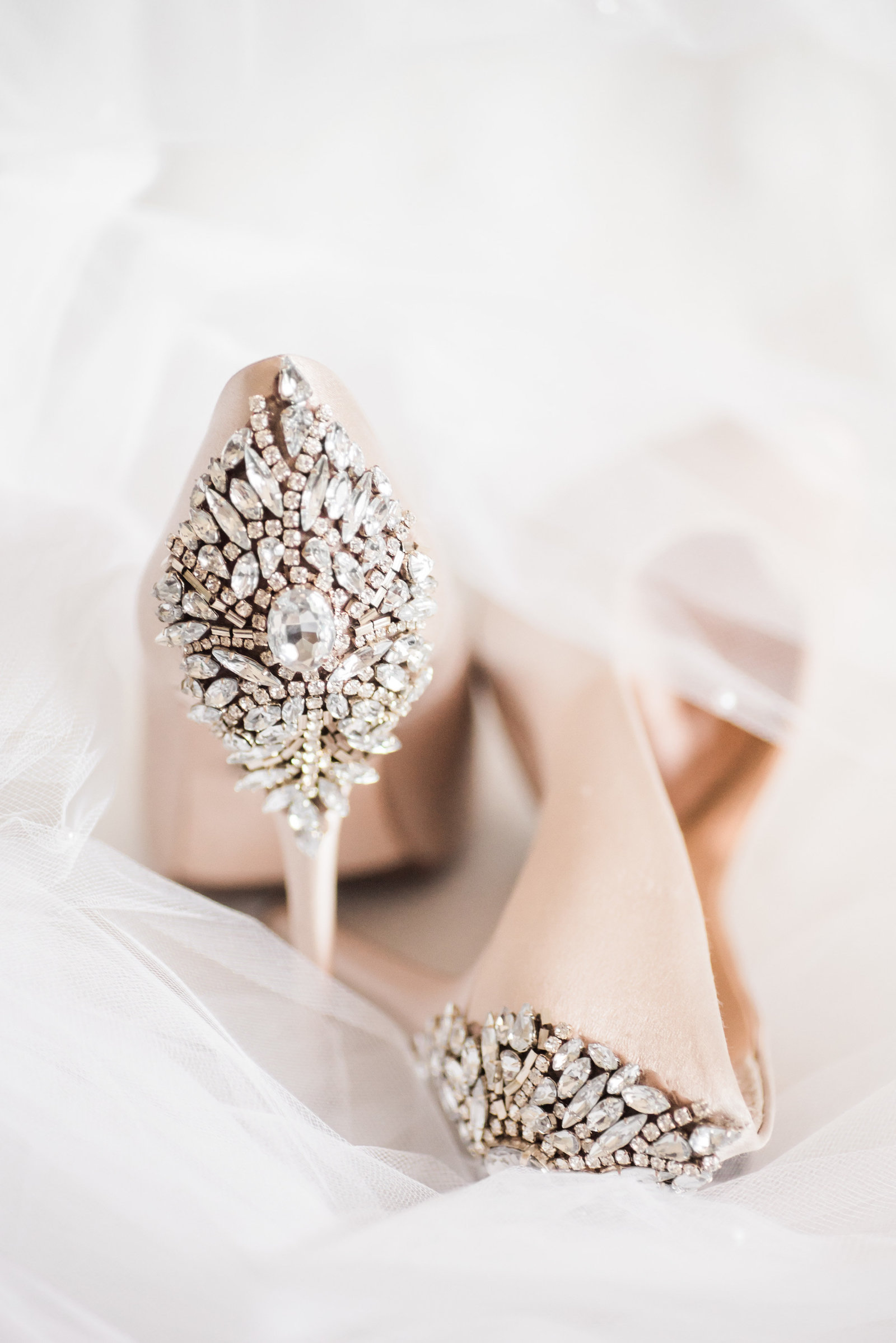 Tucson Skyline Country Club Wedding Photo of Bridal Details Badgley Mischka Blush Pink High Heel Shoes and Veil | Tucson Wedding Photographer | West End Photography
